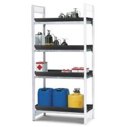 Gefahrstoffregal GKW 1360 für aggressive Chemikalien, 4 PE-Wannen, 1310 x 640 x 2000 mm, Anbaufeld kaufen