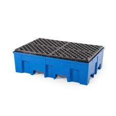 Kunststoff-Auffangwanne PolySafe Euroline Typ F2-200 W für 2 Fässer mit Kunststoff-Gitterrost