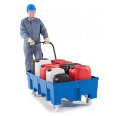 Fahrbare Auffangwanne PolySafe Euroline Typ F2-200 F für 2 Fässer, ohne Gitterrost