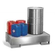Auffangwanne 2P2-l aus Edelstahl, m. Gabeltaschen und Edelstahl-Gitterrost, für 2 Fässer à 200 Liter