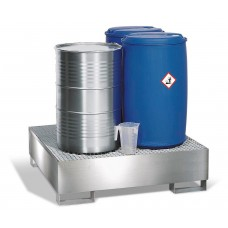 Auffangwanne 4P2-l aus Edelstahl, m. Gabeltaschen und Edelstahl-Gitterrost, für 4 Fässer à 200 Liter