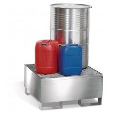 Auffangwanne 1P2-l aus Edelstahl, mit Gabeltaschen und Edelstahl-Gitterrost, für 1 Fass à 200 Liter