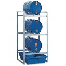 Fassregal FR-K 3-60 für 3 Fässer à 60 Liter, mit Auffangwanne aus Polyethylen (PE)
