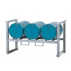 Stapelregal ARL 3 aus Stahl, verzinkt, für 3 Fässer à 60 Liter, mit Auflageschienen