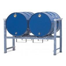 Stapelregal ARL 2 aus Stahl, verzinkt, für 2 Fässer à 200 Liter, mit Auflageschienen