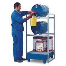Fassregal FR-S 2-60 für 2 Fässer à 60 Liter, mit Auffangwanne aus Stahl