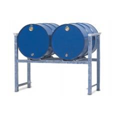 Stapelregal ARL 4 aus Stahl, verzinkt, für 2 Fässer à 200 Liter, mit Auflageschienen