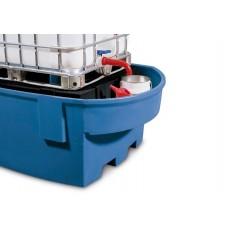 IBC-Station Basis R aus Polyethylen (PE), mit Lagerbock und Abfüllbereich, für 1 IBC, blau