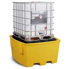 IBC-Station Basis S aus Polyethylen (PE), mit Lagerbock, für 1 IBC, gelb