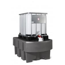 IBC-Station EURO-1R aus Polyethylen (PE), mit Abfüllbereich und verzinktem Gitterrost, für 1 IBC