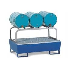 Abfüllstation AS-B aus Stahl, lackiert, mit verzinktem Fassbock für 3 Fässer à 60 Liter
