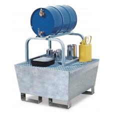 Abfüllstation AS-B aus Stahl, verzinkt, mit verz. Fassbock für 1 Fass à 60 Liter, 200 L Auffangvol.