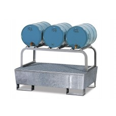 Abfüllstation AS-B aus Stahl, verzinkt, mit verzinktem Fassbock für 3 Fässer à 60 Liter