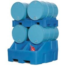 Abfüllstation Typ RS aus Polyethylen (PE), inkl. Fasspalette aus PE, für 4 Fässer à 200 Liter