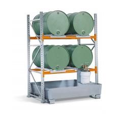 Regalwanne PRW 33 aus Stahl, verzinkt, mit Gabeltaschen, für Regale mit Fachbreite 1400 mm