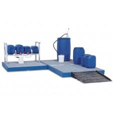 Bodenelement BK 22.15 aus Polyethylen (PE), mit verzinktem Gitterrost, 2200 x 1500 x 150 mm