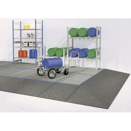 Bodenelement BK 8.8 aus Polyethylen (PE) mit PE-Gitterrost, 800 x 800 x 150 mm
