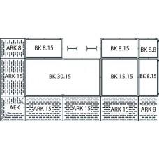 Bodenelement BK 30.8 aus Polyethylen (PE) mit PE-Gitterrost, 3000 x 800 x 150 mm