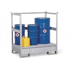 Gefahrstoffstation 2 P2-R aus Stahl, verzinkt, für 2 Fässer à 200 Liter, mit Rahmen, stapelbar