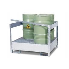 Gefahrstoffstation 4 P2-P-V50 aus Stahl, verzinkt, für 4 Fässer à 200 Liter, mit Rahmen