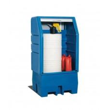 PolySafe-Depot PSR 8.8 für 1 Fass à 200 Liter, mit verzinktem Gitterrost, mit Jalousie
