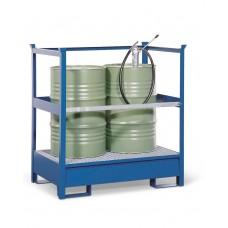 Gefahrstoffstation 2 P2-P aus Stahl, lackiert, für 2 Fässer à 200 Liter, mit Rahmen