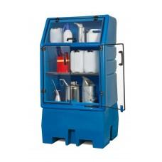 PolySafe-Depot PSR 8.8 für 1 Fass à 200 Liter, mit verzinktem Gitterrost, mit Türen