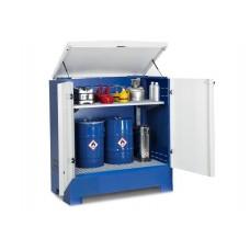 Gefahrstoffdepot Cubos, für 2 Fässer à 200 Liter, lackiert, blau/weiß, Typ L-2.2